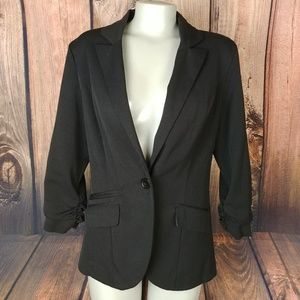 Maurices Black Rouched Sleeves Blazer